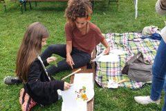 Atelier impression végétale sur tissu animé par Vanessa